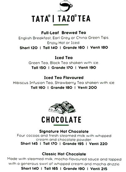 Starbucks menu 4