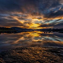 Sunset time by Benny Høynes - Landscapes Sunsets & Sunrises ( seascape, sunset, sony alpha, norway, lake, landscape )
