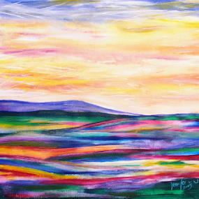 Morning has Broken by Jennifer van Niekerk - Painting All Painting ( abstract, hills, hill, bright, art, canvas, acrylic, paint, morning, landscape, dusk, decor, colour, acrylic painting, new, fresh, happy, contemporary, sunrise, cheerful, painting, design )