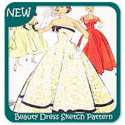 Beauty Dress Sketch Pattern
