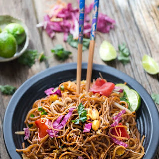 Rainbow Asian Skillet Peanut Noodles.