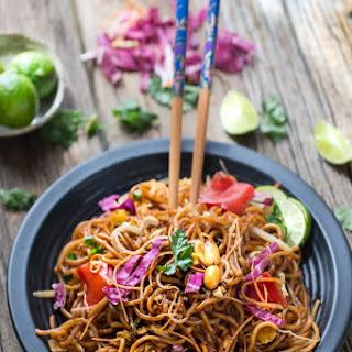 Rainbow Asian Skillet Peanut Noodles Recipe