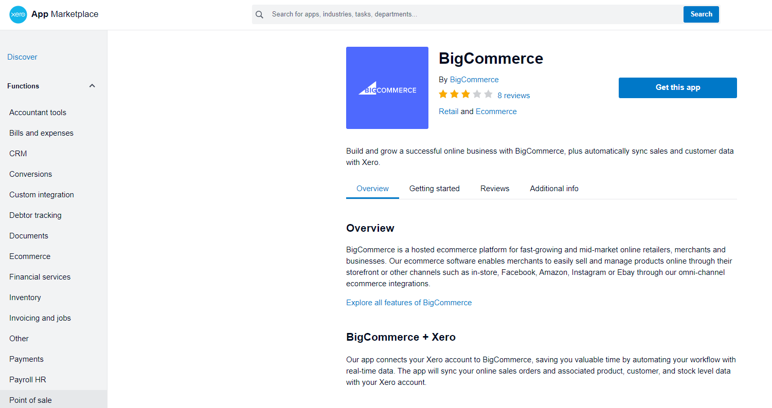 Xero direct integration with BigCommerce