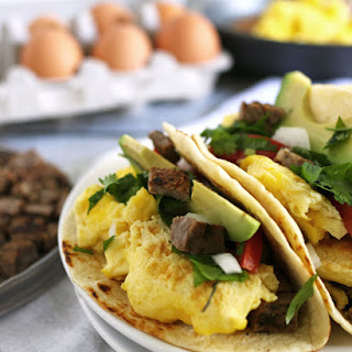 Steak and Egg Breakfast Tacos.