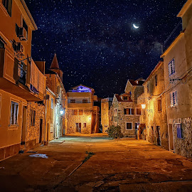 Rudina  by Branko Meic-Sidic - City,  Street & Park  Street Scenes ( croatia, moon, pirovac, hdr, arhitectural, nightsky, stars )