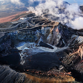 Mt ASO, Kyushu Japan by William Cho - Landscapes Mountains & Hills ( mt aso, active volcano, japan, kyushu, geopark, caldera, aerial, tourism, attraction )