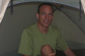 Photo: Craig pretending like he's not a tent hog.
