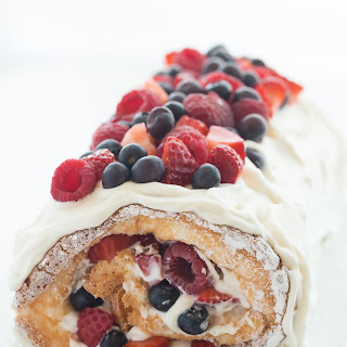 Triple Berry Angel Food Cake Roll (a Red, White and Blue dessert) + VIDEO.