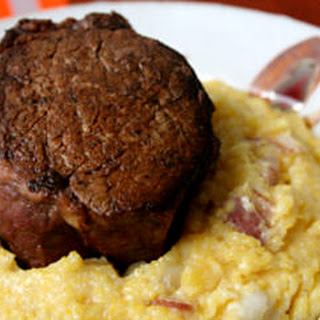 Beef Tenderloin with Pancetta and Hominy Polenta