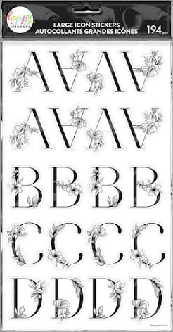 Me & My Big Ideas Happy Planner Alphabet Icon Stickers - Sophisticated Florals