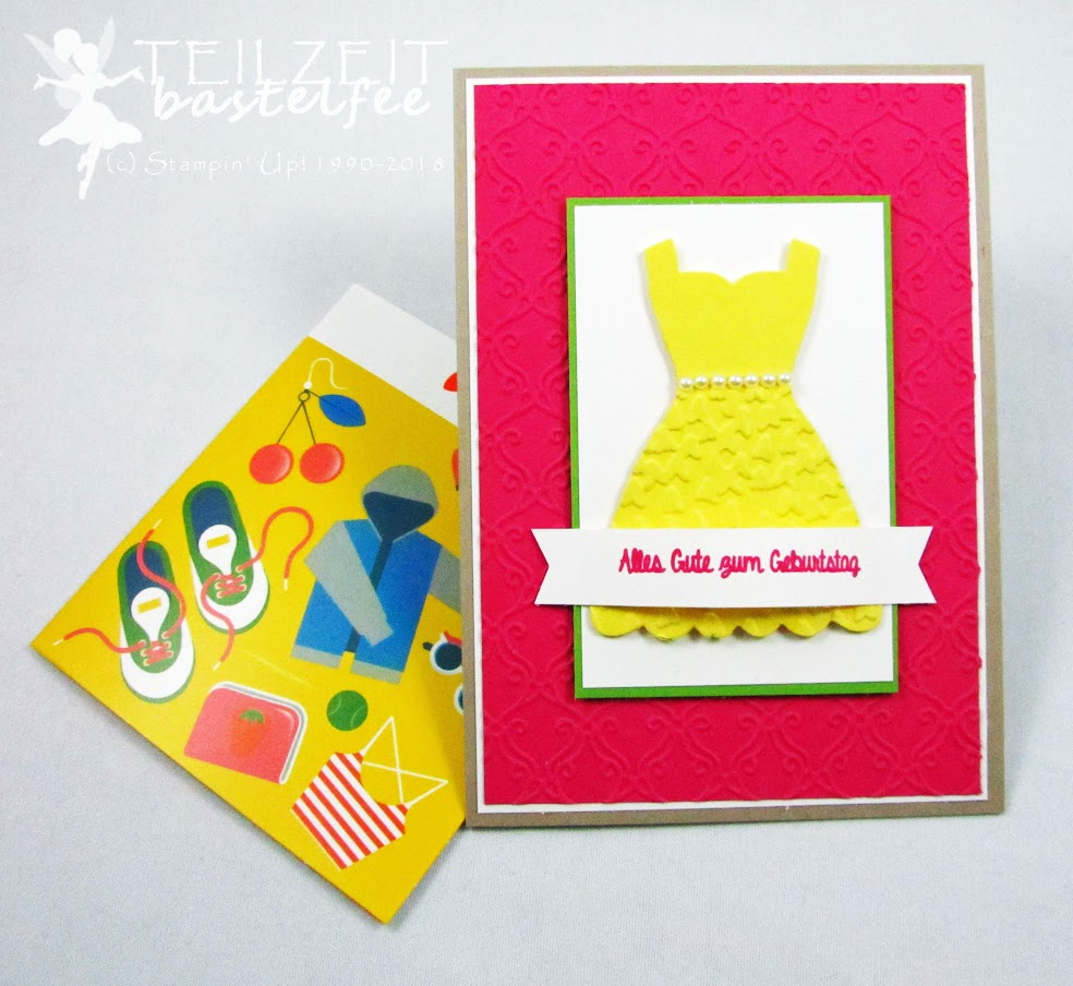 Stampin' Up! - Inkspire_me, Sketch Challenge, Color Challenge, Persönlich überbracht, Birthday, Geburtstag, Kleid, Dress Up Framelits, Shopping Gutschein, Hand Delivered