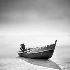 Open See  by Najmi Rooslan - Black & White Objects & Still Life ( raw, b&w, black & white, fine art, single exposure, sea, malaysia, beach, minimalist, tamron, malacca, d7000, melaka, nikon )