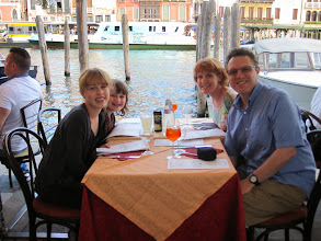 Photo: Dinner along the grand canal in front of our hotel