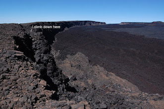 Photo: Not far beyond the waterhole is a rockfall down which adventuresome souls can descend to the caldera floor.