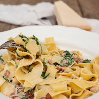 Fresh Pappardelle Carbonara with Arugula