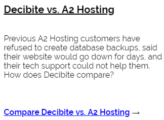 Decibite vs A2 Hosting