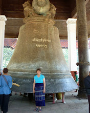 Photo: King Bodawpaya also had a gigantic bell cast to go with his huge stupa. The Mingun bell weighs ninety tons and is the largest ringing bell in the world.