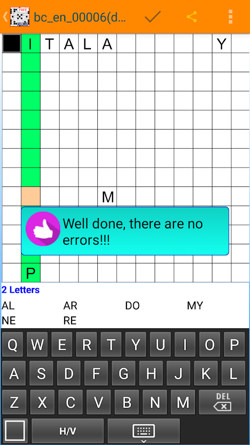 Fill in crosswords Puzzles- screenshot