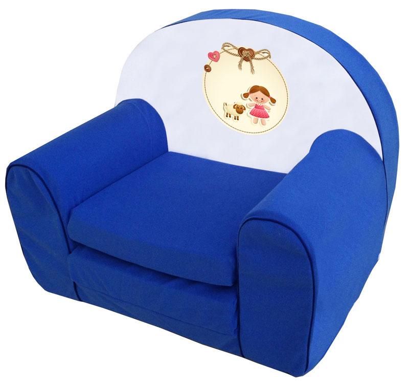Kislány barival, kék játék szivacs fotel