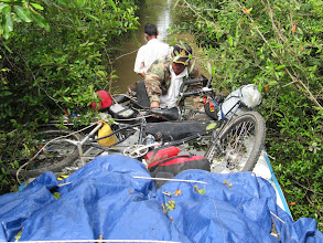 Photo: Year 2 Day 41 -  Our Bikes on the Roof and the Overhanging Vegetation