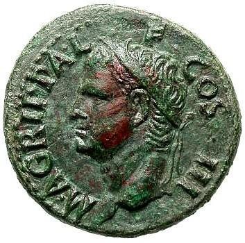 C:\Users\NF\Desktop\ΝΑΥΜΑΧΙΑ ΑΚΤΙΟΥ, Στρατηγός Αγρίππας, Νόμισμα. Roman General, Agrippa, Coin.jpg
