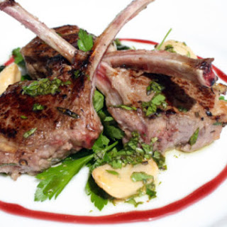 Grilled Lamb Chops with Port Syrup, Garlic Confit, and Sauce Vierge 'Persillade'.