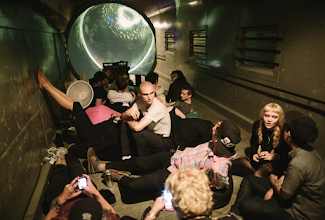 """Photo: Electric Sheep projection sphere for the """"Full Flex Express"""" train tour with Skrillex, Diplo, Grimes, Pretty Lights. Summer 2012."""
