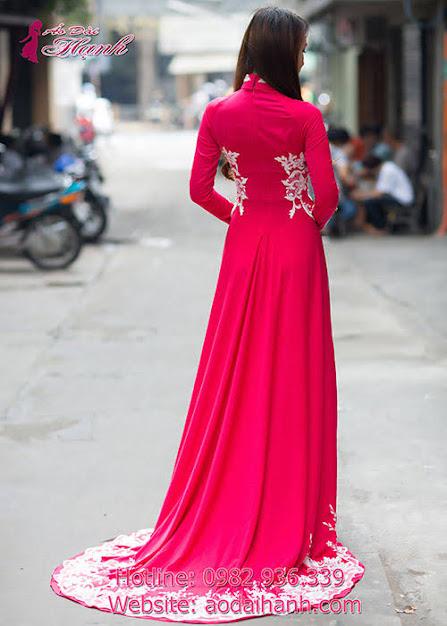 áo dài cưới khăn voan