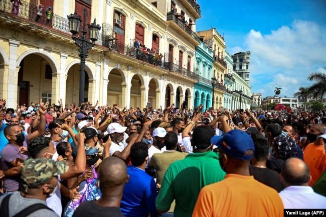 Одна из антиправительственных демонстраций в Гаване. 11 июля 2021 года