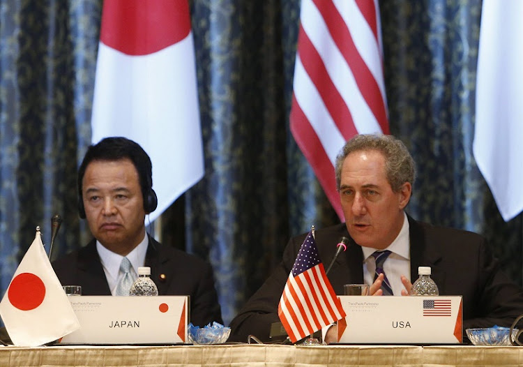 US trade representative Michael Froman, right,and Japan's Economics Minister Akira Amari. Picture: REUTERS