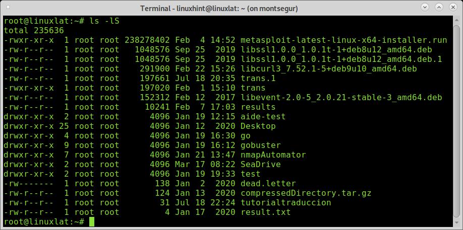 listar archivos orden tamaño linux