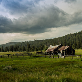 Old Tahoe Farm by John Shelton - Landscapes Prairies, Meadows & Fields ( clouds, farm, barn, california, meadow, landscape, storm,  )