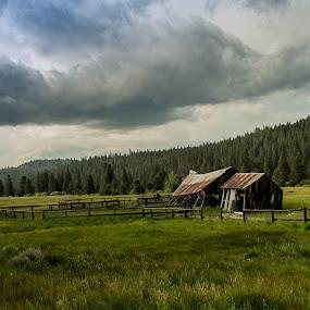 Old Tahoe Farm by John Shelton - Landscapes Prairies, Meadows & Fields ( clouds, farm, barn, california, meadow, landscape, storm,  )
