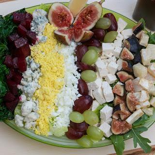 Roasted Beet, Roasted Celery Root, Grapes, Fresh Fig, and Arugula Salad.