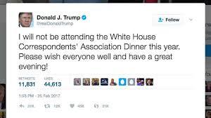 Billedresultat for trump not attending dinner at white house correspondents