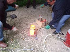Photo: La couleur du creuset indique une haute température.