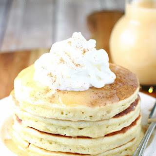 Eggnog Pancakes with Homemade Vanilla Syrup Recipe