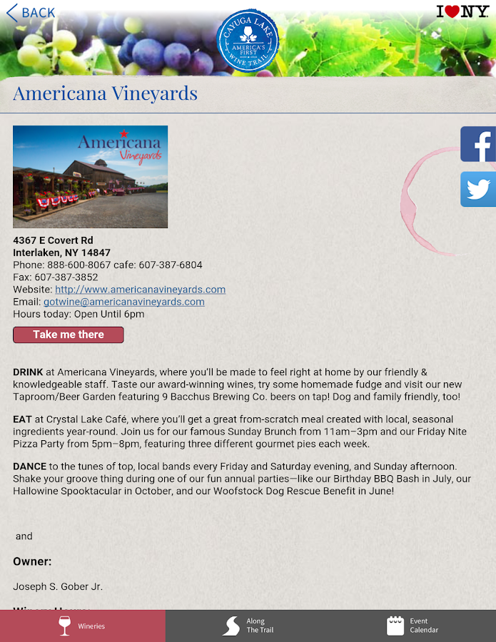 Cayuga Lake Wine Trail- screenshot