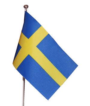 Komplett bordsstång med svenska flagga