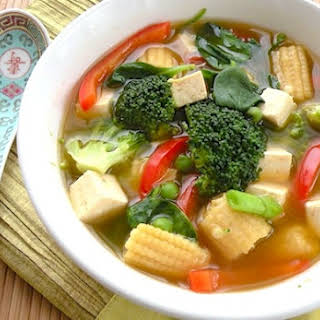 Colorful Asian-Style Vegetable Tofu Soup.