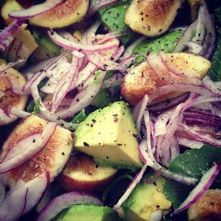 Raw Kale, Fig and Avocado Salad.