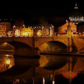 Tieber River, Rome by Sean Markus - City,  Street & Park  Night ( rome, tiber river, night street, water reflections, travel, night shot, italy )