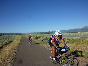 Photo: Day 18 Jackson Hole to Dubois WY 88 miles 4450' climbing: Great bike path leading from Jackson Hole WY toward Yellow Stone National Park.