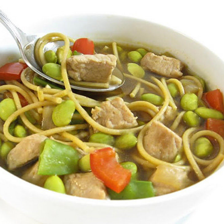 Asian Pork and Edamame Noodle Soup