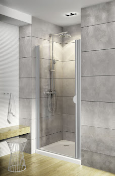 Porte de douche pivotante en niche, 80 ou 90 cm