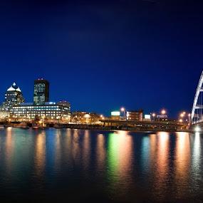 Rochester, NY Blue hour by Brad Kalpin - City,  Street & Park  Skylines ( water, lights, buildings, bridge, landscape, city )
