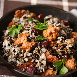 Wild Rice with Turkey Sausage and Cranberries.