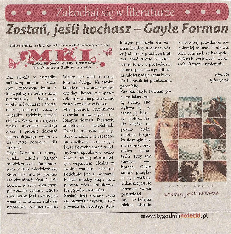 Photo: http://szeptksiazek.blogspot.com/2014/11/zostan-jesli-kochasz-gayle-forman.html