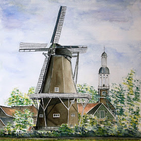 corn mill -Delfzijl- Holland by Bob Has - Painting All Painting ( mill, old, holland, delfzijl, corn )