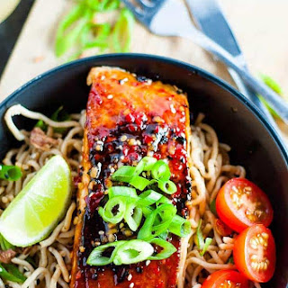 Chilli Soy Salmon with Sesame Noodles.